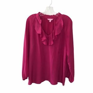 Lilly Pulitzer Ellie Bright Pink Blouse Med
